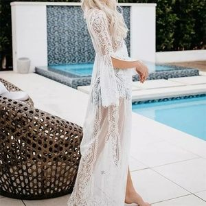 Other - New White Flare Sleeves Maxi Lace Cover Up